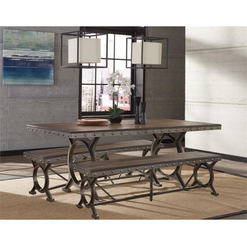 Bowery Hill 3 Piece Dining Set In Brown Gray