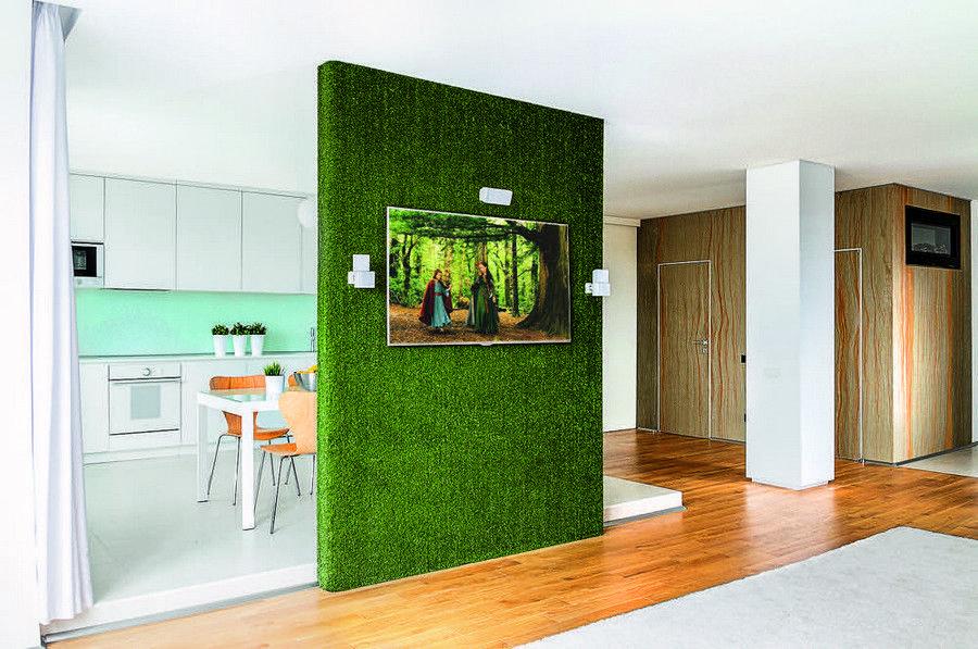 3 Open Plan Living Room Kitchen Plasterboard Partition Room Divider Faux Vertical Wall Roll Turf Gra Decoracion Hogar Escritorios Habitacion Decoracion De Unas