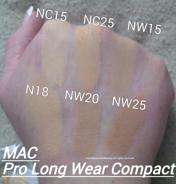 color nc 15 nw15 brand mac pro long wear compact foundation