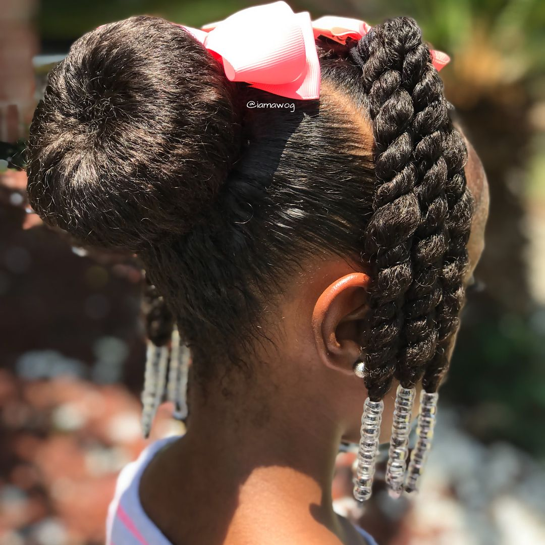 Hotd Same Base As Yesterday We Just Add Some Beads And Made The Back Ponytail Into A T Natural Hairstyles For Kids Natural Hair Styles Kids Braided Hairstyles