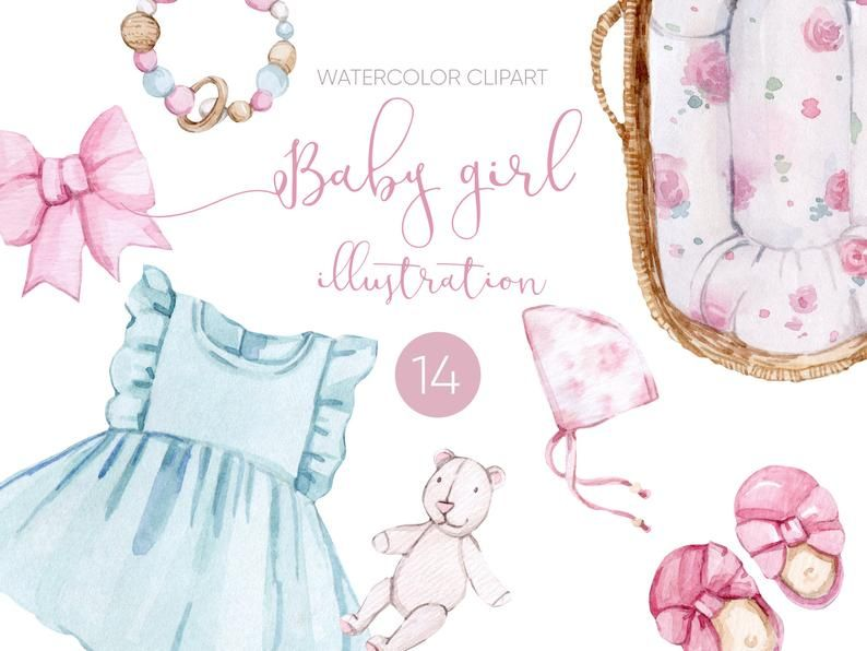 Baby Girl Elements Illustrations Sweet Baby Clothes And Etsy In 2021 Baby Girl Clipart Sweet Baby Clothes How To Draw Hands