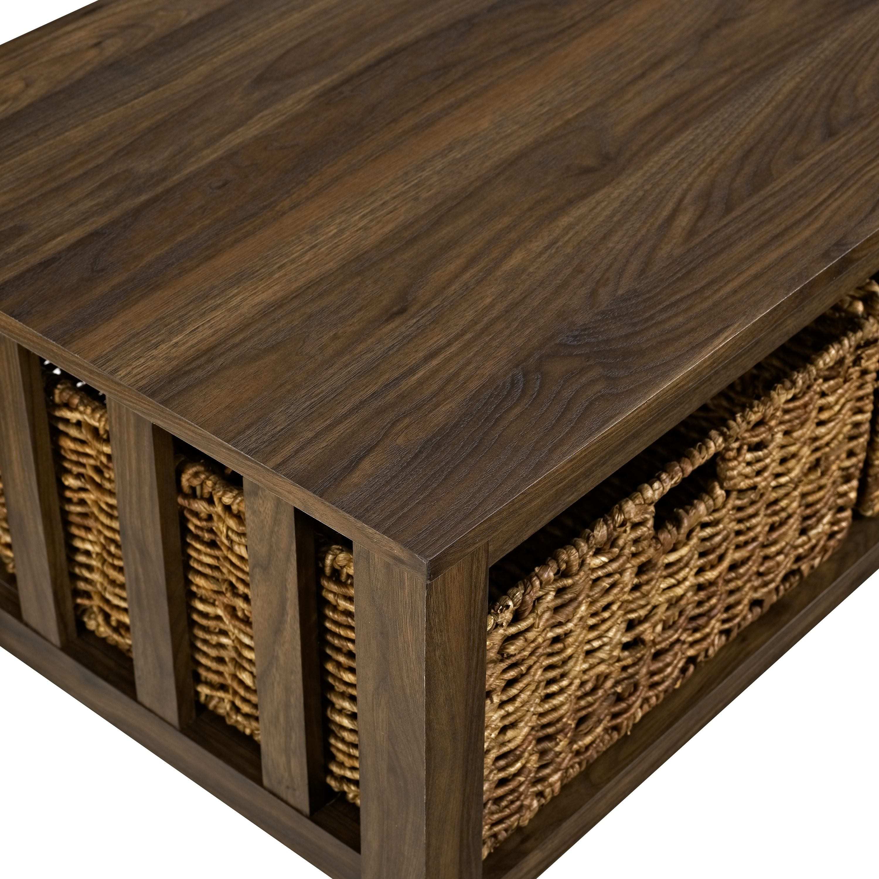 40 Inch Coffee Table With Wicker Storage Baskets With Images