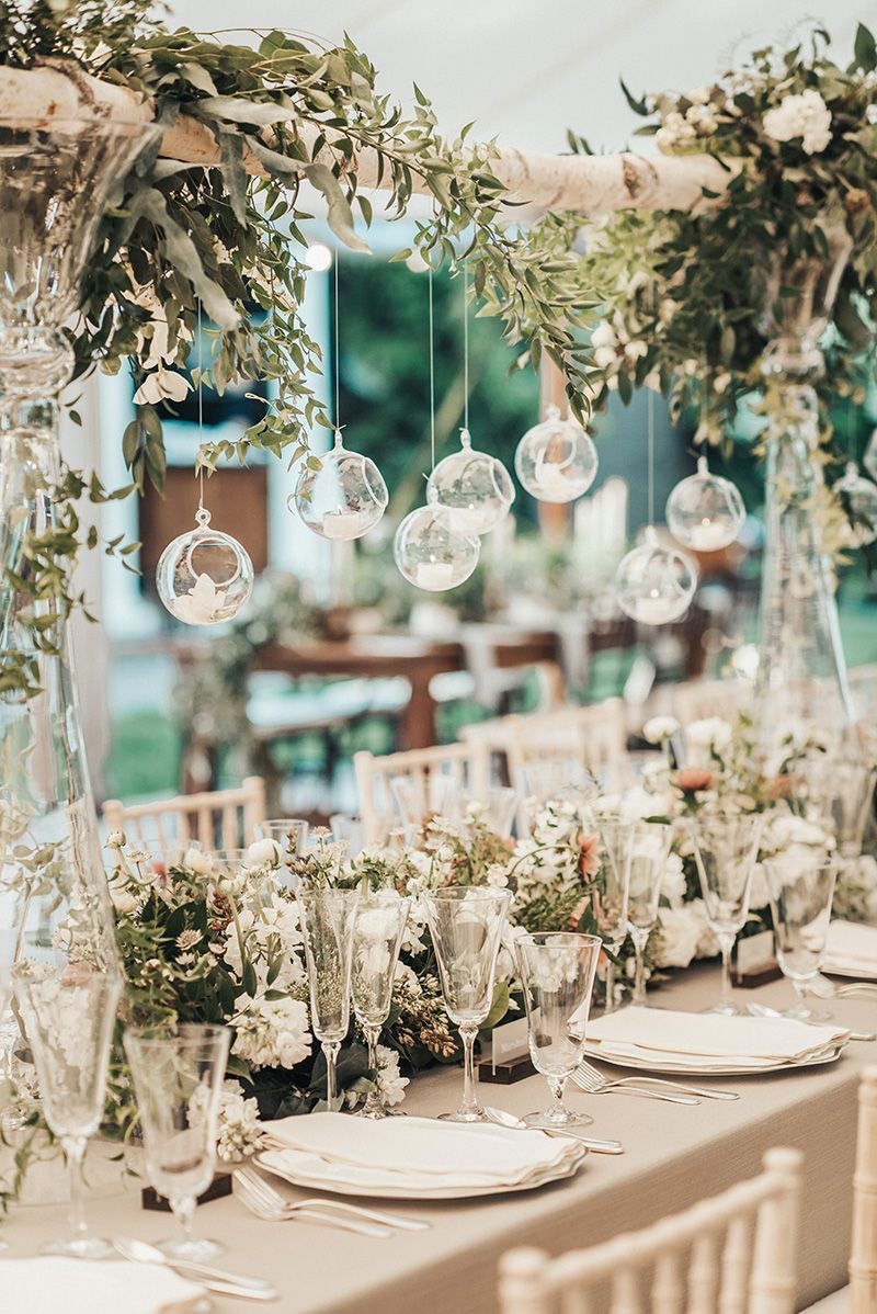 Elegant Summer Tablescape Inspiration Farm Table With Gray Linens White Place Settings Whit Hanging Candles Wedding Wedding Table Decorations Fancy Wedding
