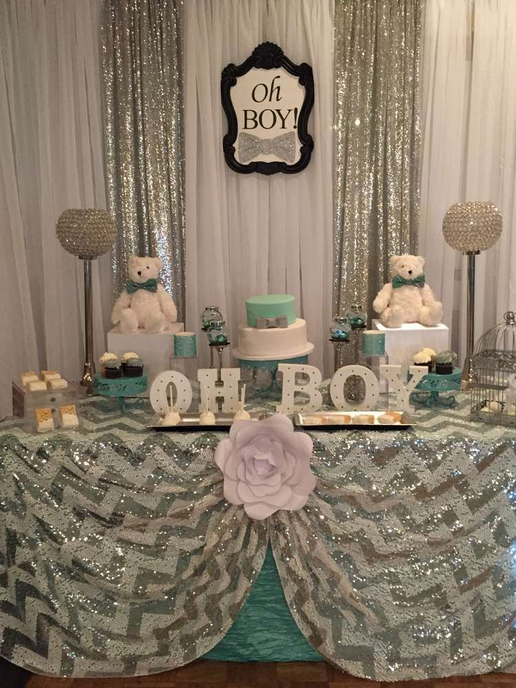 Mint And Silver Baby Shower Party Ideas In 2019 Baby