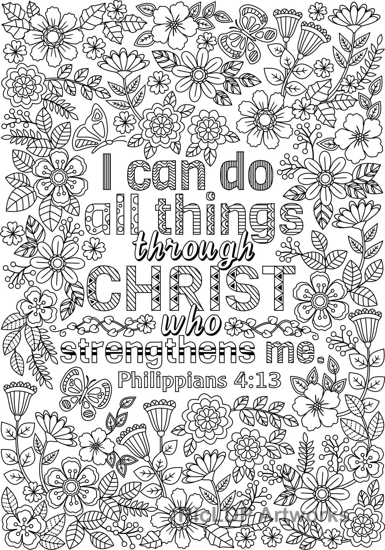 Two Inspirational Coloring Pages I Can Do All Things Etsy In 2020 Love Coloring Pages Bible Coloring Pages Bible Coloring
