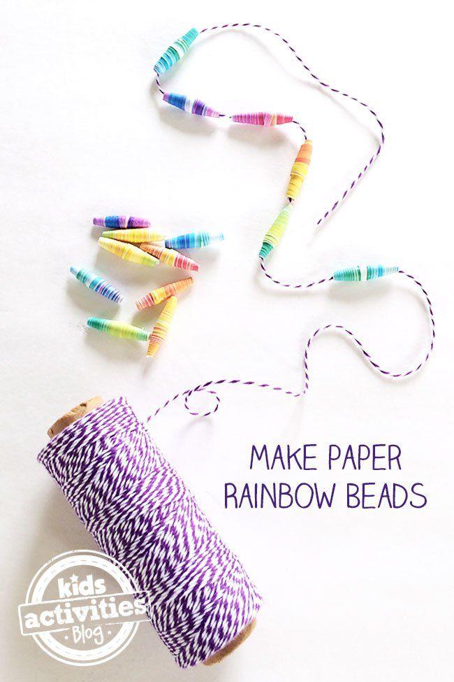 Make Your Own Rainbow Paper Beads – Kids Activities Blog