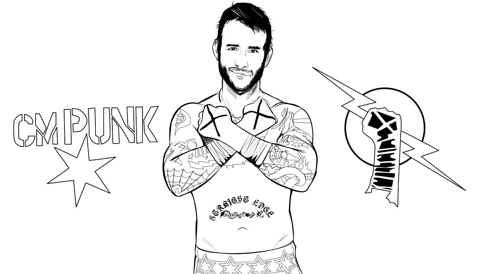 Wwe Cm Punk Colouring Pages Page Id 61470 Uncategorized Yoand