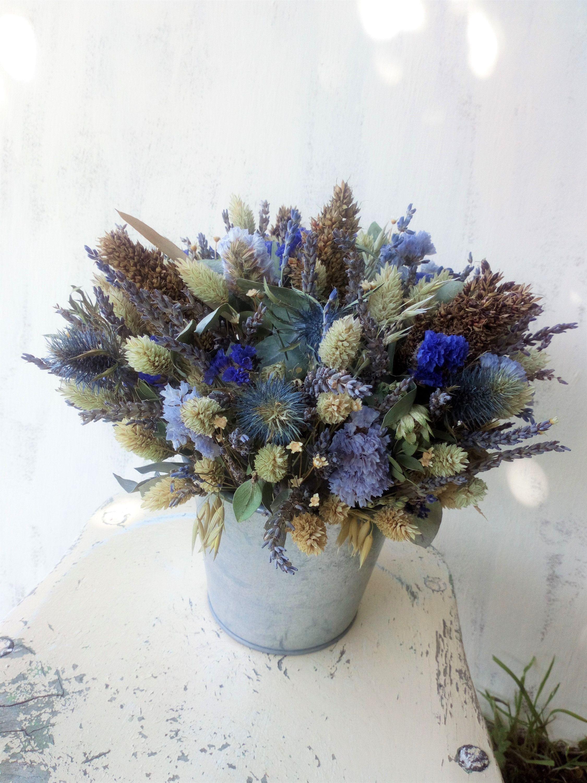 Dried flower arrangement blues driedflowers
