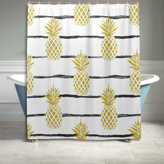 Gold Pineapple Stripe Pattern Shower Curtain Bathroom Decor Home