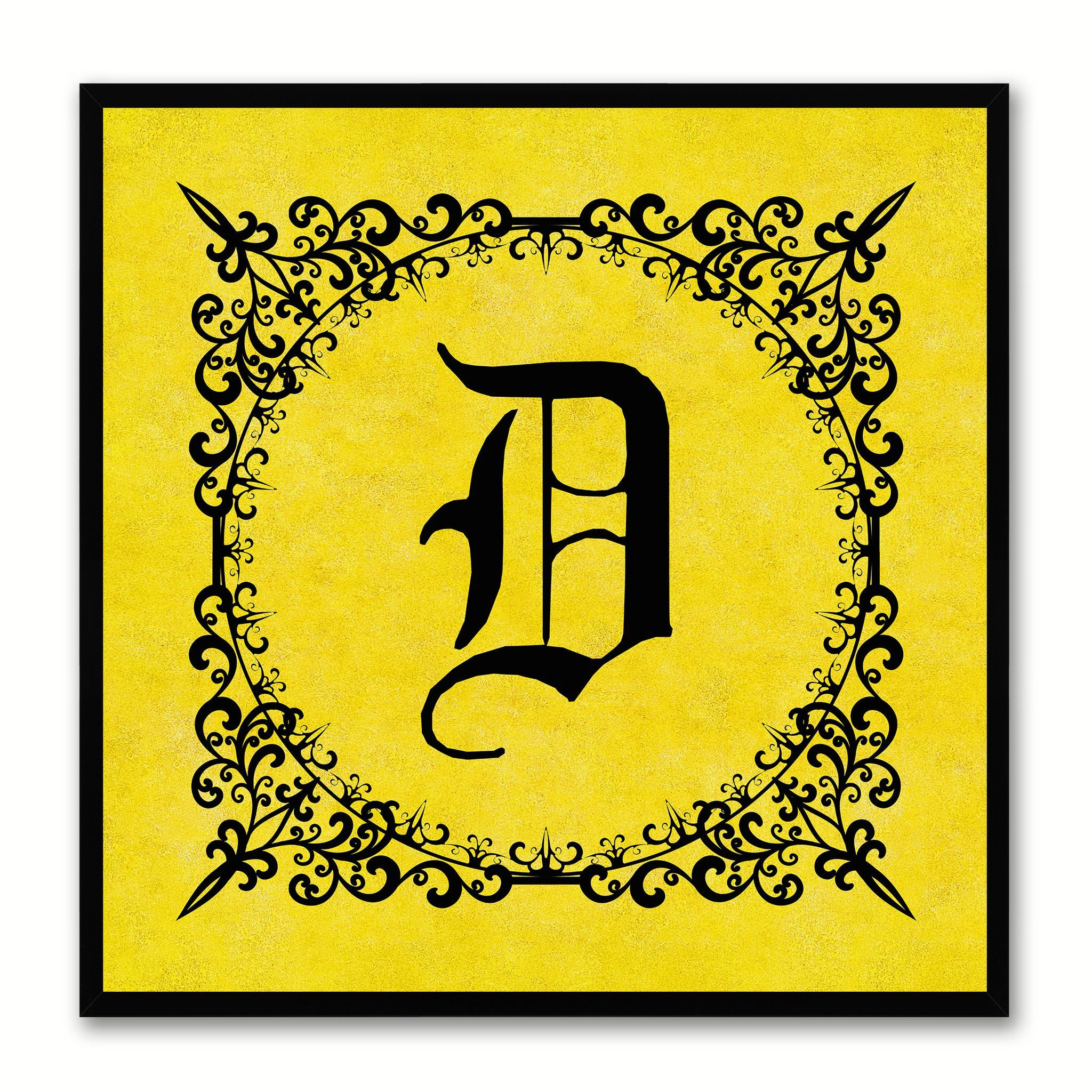Alphabet D Yellow Canvas Print Black Frame Kids Bedroom Wall Décor ...