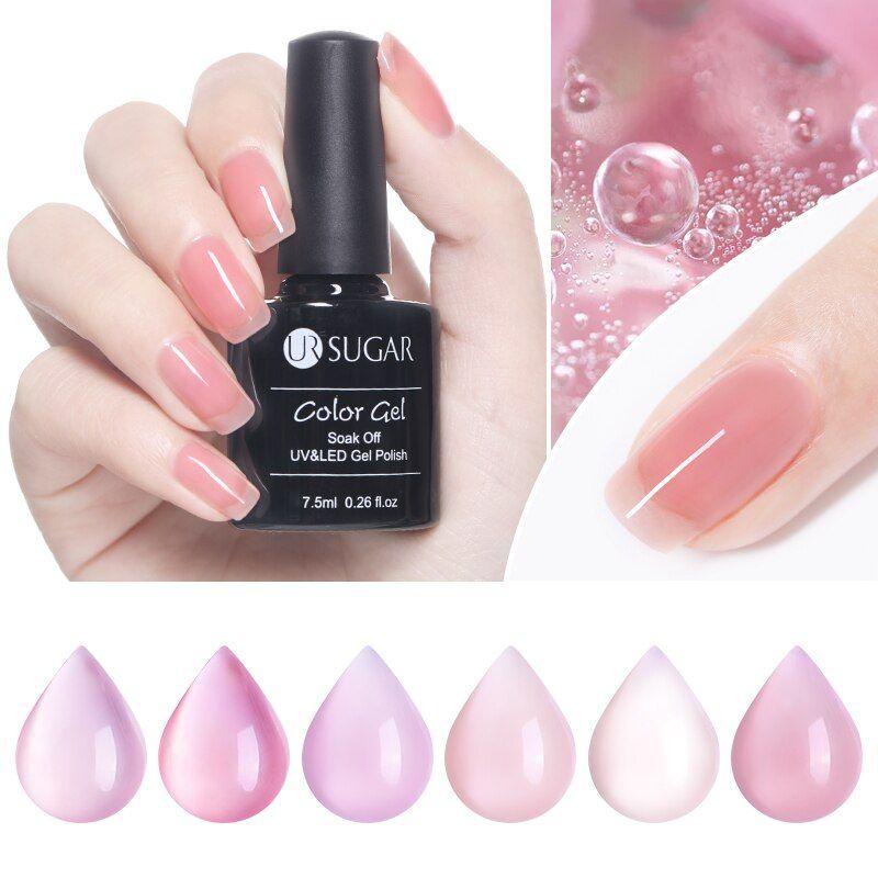 Amber Glass Glue Transparent Jelly Gel Nail Polish Clear