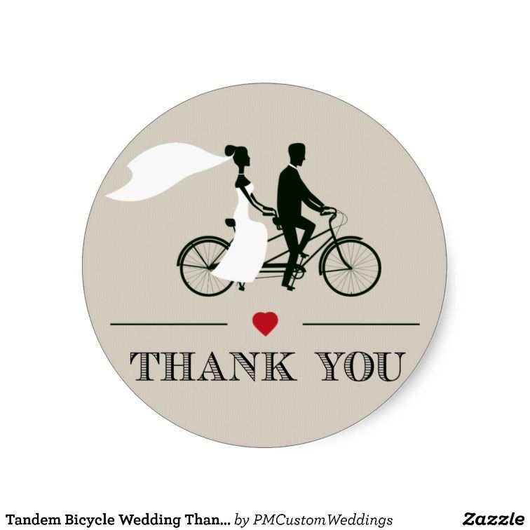 Tandem Bicycle Wedding Thank You Stickers