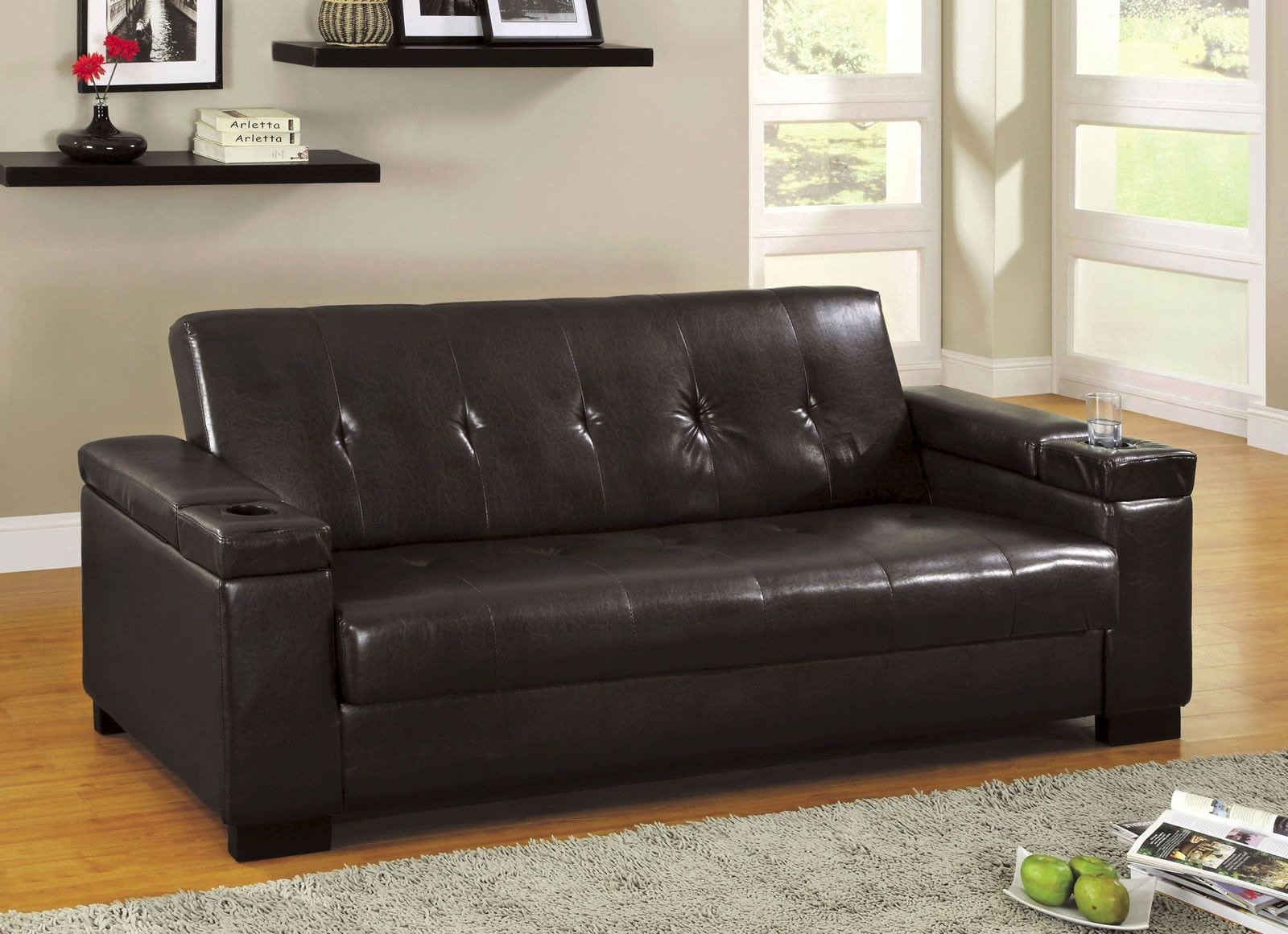 Tomas Leatherette Futon With Storage And Built In Cup