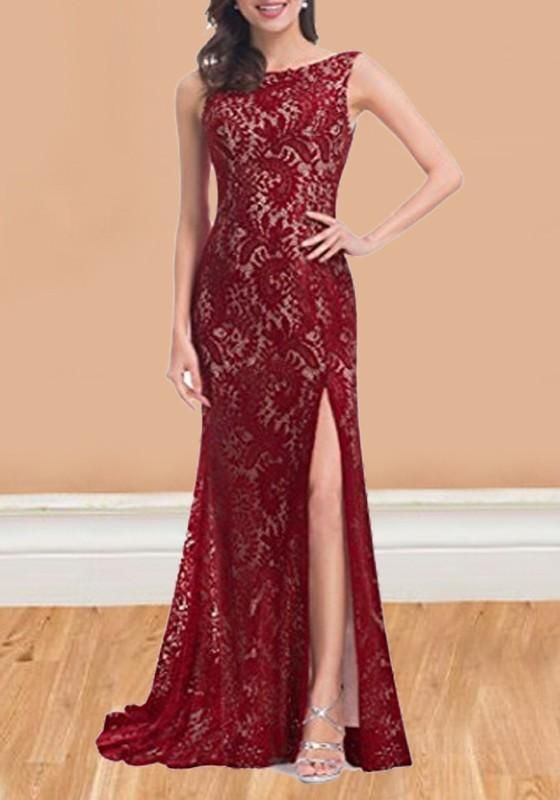 bc6e6503bf72 Red Patchwork Lace Slit Backless Sleeveless Cocktail Party Maxi Dress
