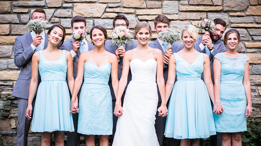 Mismatched Kennedy Blue Bridesmaid Dresses In Mint Top 2017 Wedding Trends