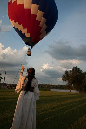 """Photo of Layla Anders enjoying the Hot Air Balloon at the 2014 """"First Annual"""" Big River Steampunk Festival -- Second Annual Festival to be held Sept. 5-7, 2015 in Hannibal, Missouri   www.BigRiverSteampunkFestival.com"""