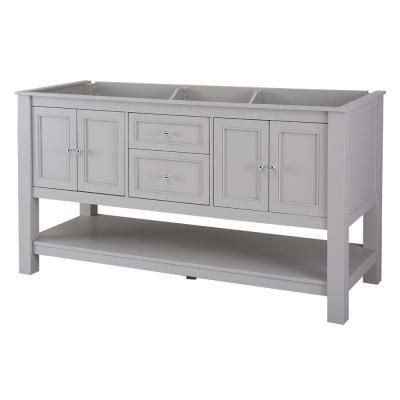 Home decorators collection gazette 60 in vanity cabinet only in grey with double bowl design