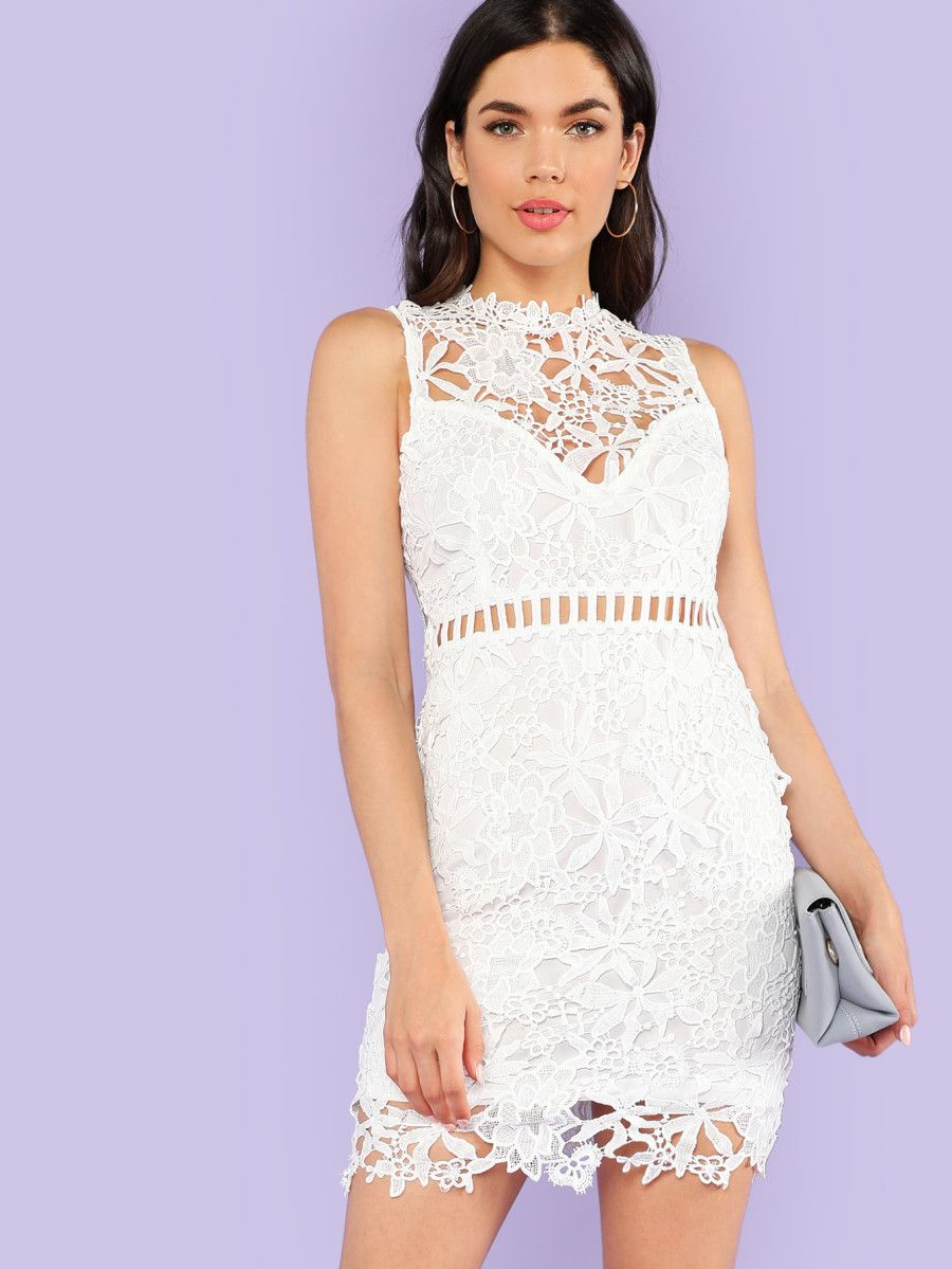 c28f32e9819 Crochet Lace Overlay Bodycon Dress OFF WHITE -SheIn(Sheinside ...