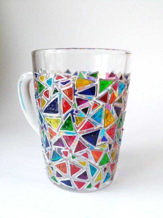 d605720c4b2 Coffee mug Mosaic glass mug Sun catcher mugs Triangle mug Hand painted  coffee mugs