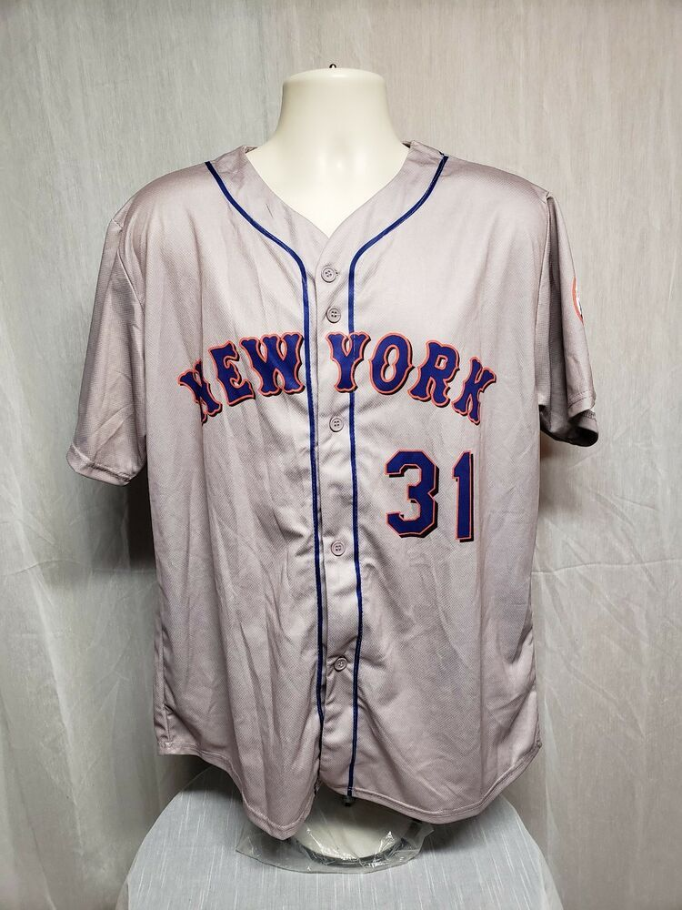 low priced d3374 8893a New York Mets Mike Piazza 31 Mens Large Gray Jersey #Coyote ...