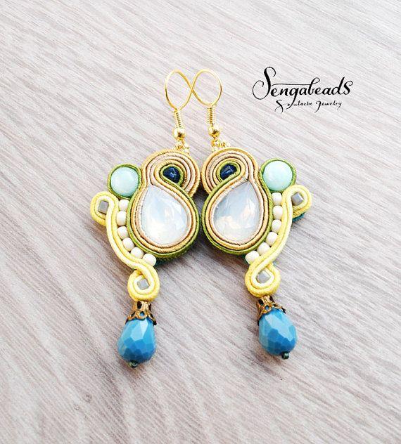 Dangle soutache earrings in yellow pastel yellow ivy by Sengabeads