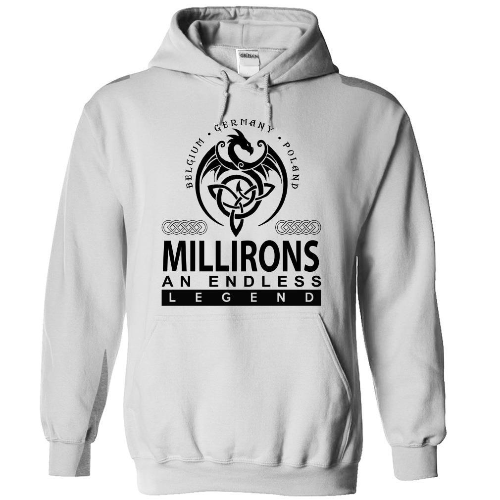 [Hot tshirt name font] MILLIRONS an endless legend Discount Hot Hoodies, Funny Tee Shirts