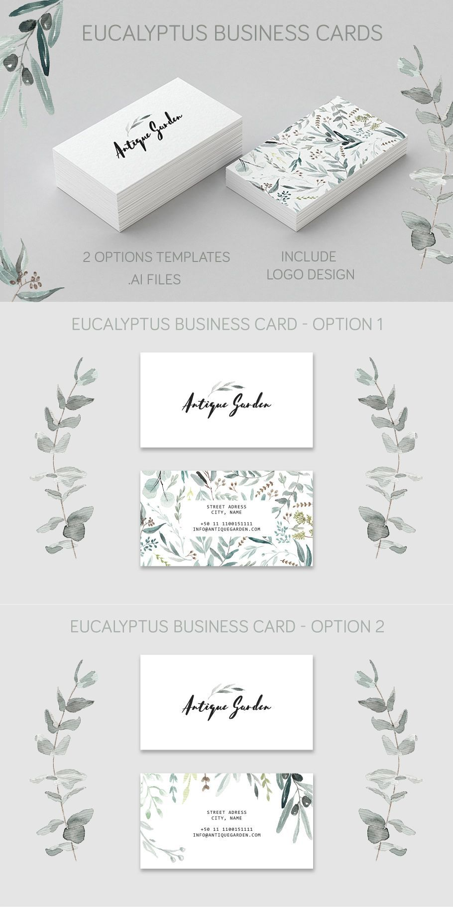 Eucalyptus Business Card Template Promotion Card Cards Business Card Template