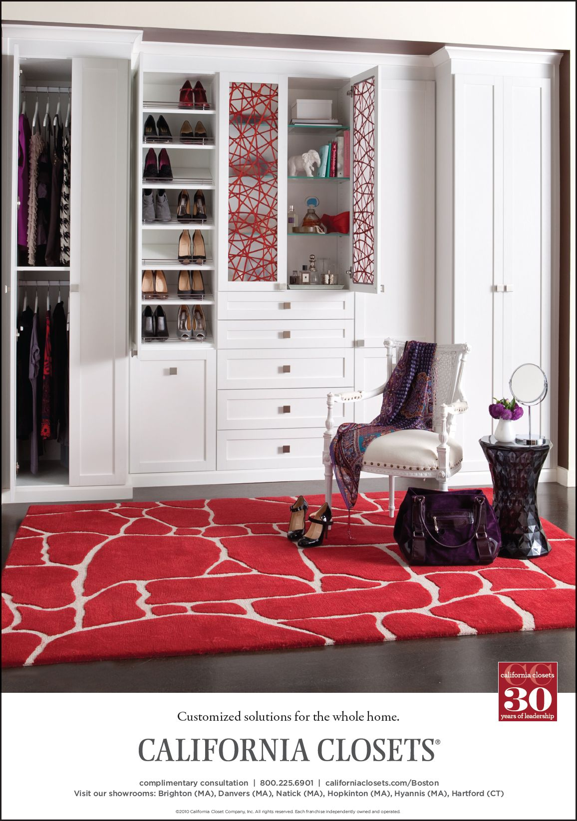 Reach In Closet With Decorative Glass Doors
