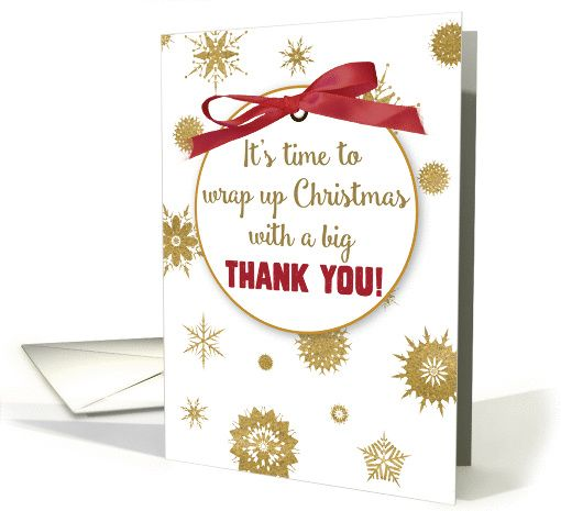 thank you for christmas gift gold snowflakes red ribbon card