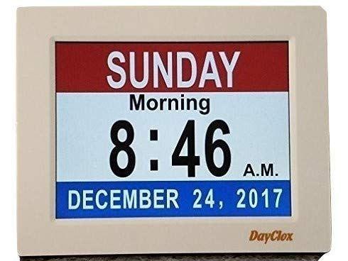 Dayclox Memory Loss Digital Calendar 5 Cycle Clock Red White