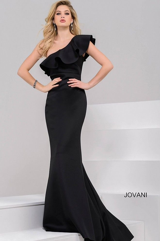 Black One Shoulder Scuba Fitted Dress 50164 | Prom dresses for the ...