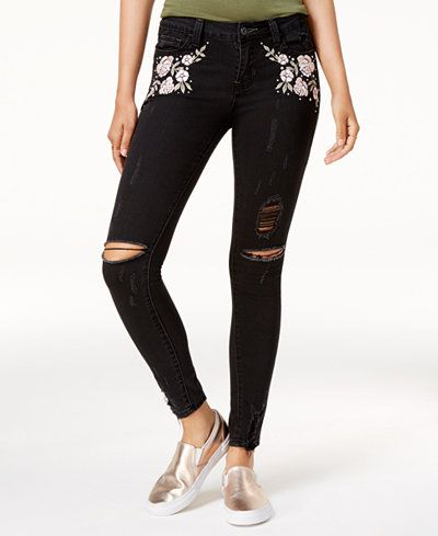 1ceacf0b3263 Vanilla Star Juniors' Floral-Embroidered Skinny Jeans | EMB | Skinny ...