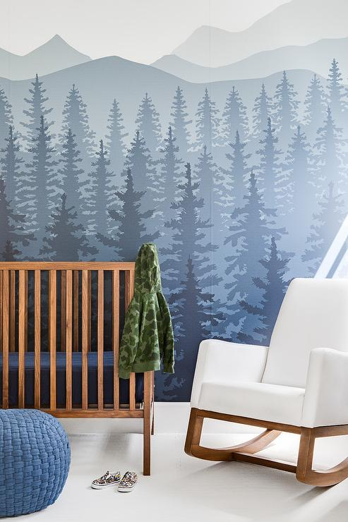 Rocky Mountains Nursery Wall Mural with Rustic Crib