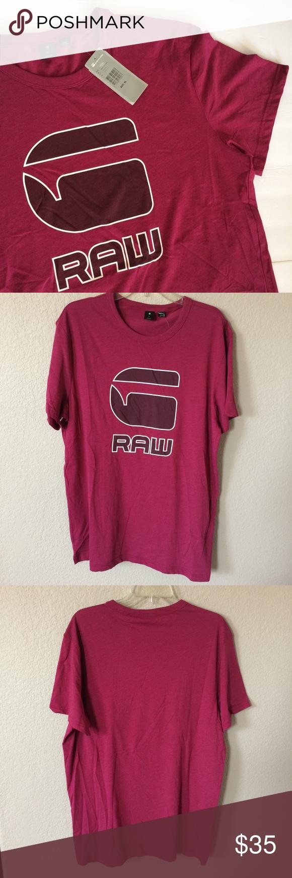 Men S G Star Raw Logo Maroon Dark Finch T Shirt G Star G Star Raw Shirts