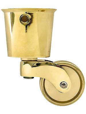 Large Solid Brass Round Cup Caster With 1 1 4 Brass Wheel In 2019
