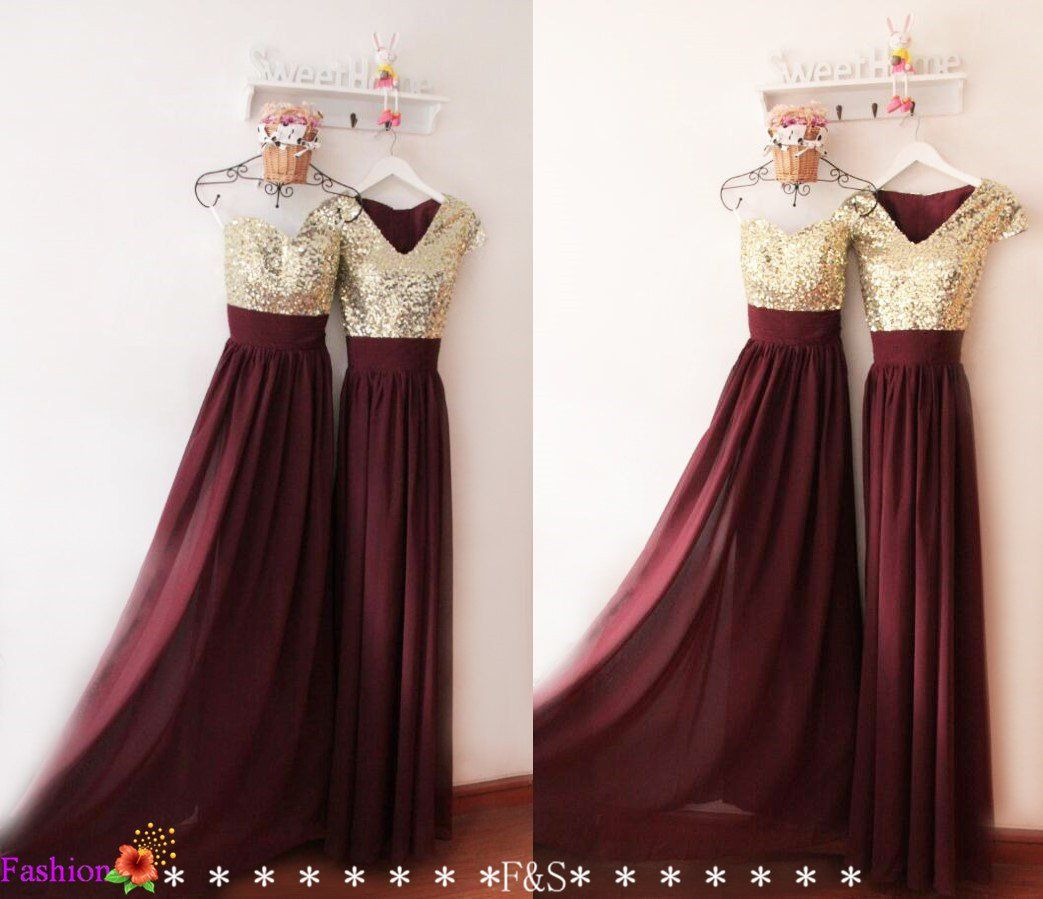 Prom dresssexy burgundy evening dressbridesmaid dresssequin