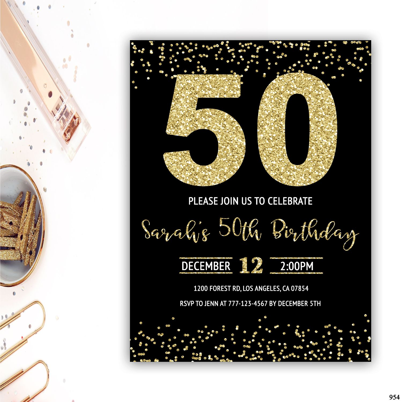 50th birthday invitations 50th birthday party invite gold