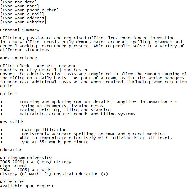 Office Clerk Cv Example  LearnistOrg    Cv Examples