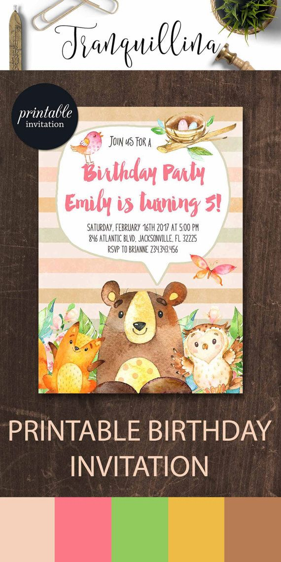 woodland birthday invitation printable girl birthday invitation