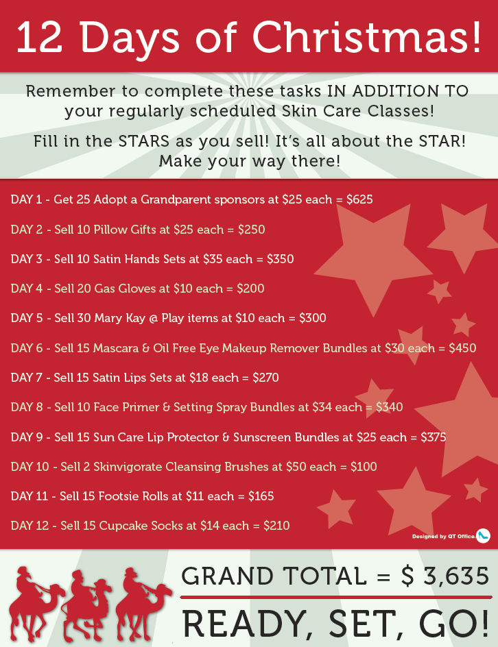 Mary Kay 12 Days Of Christmas Flyer Freebie Mary Kay Christmas Mary Kay Holiday Mary Kay