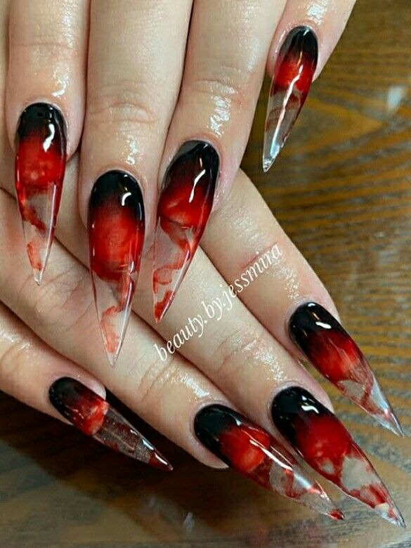 Pin By Kellie Catena On Nails Halloween Nails Red Nails Halloween Nails Easy