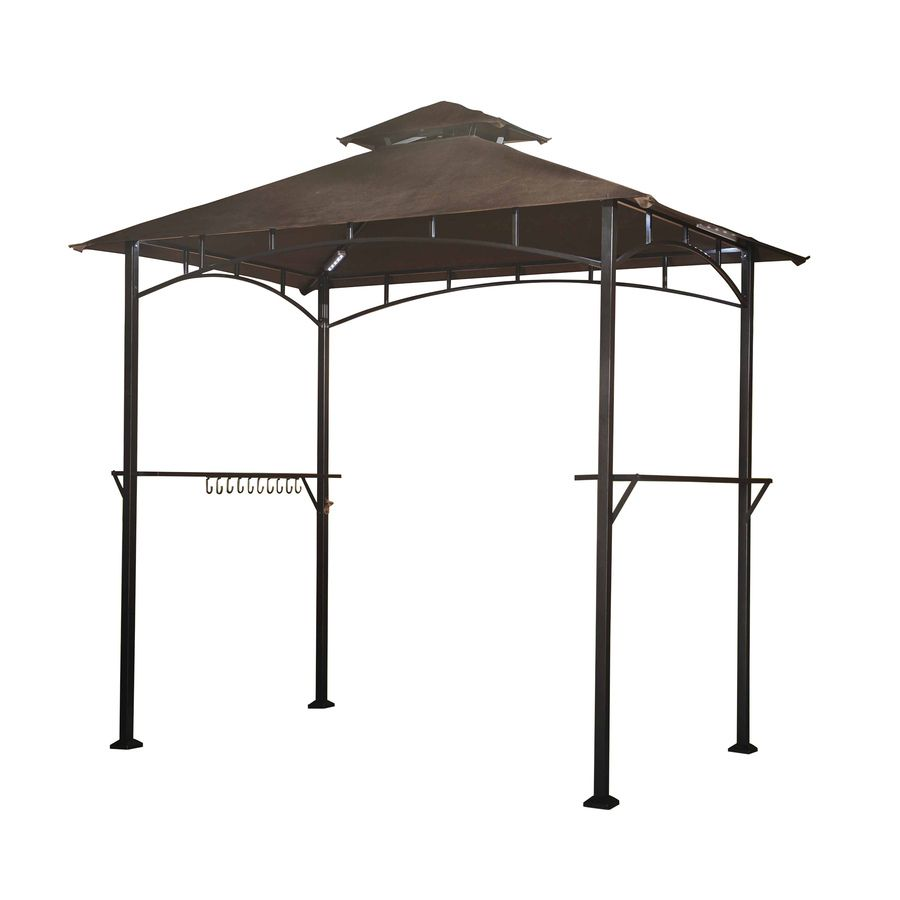 Sunjoy Hacienda Black Steel Rectangle Grill Gazebo Exterior 5 Ft X 8 Ft Foundation 8 Ft X 5 Ft Lowes Com Grill Gazebo Gazebo Steel Pergola