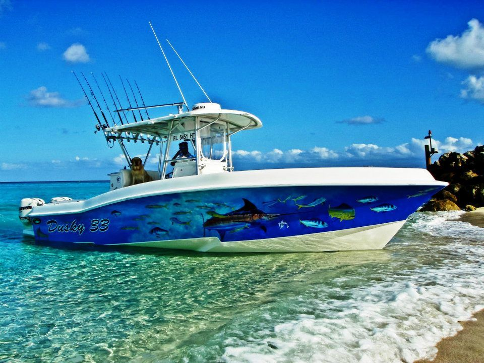 Guy harvey boat wrap on a center console center for Fishing boat wraps