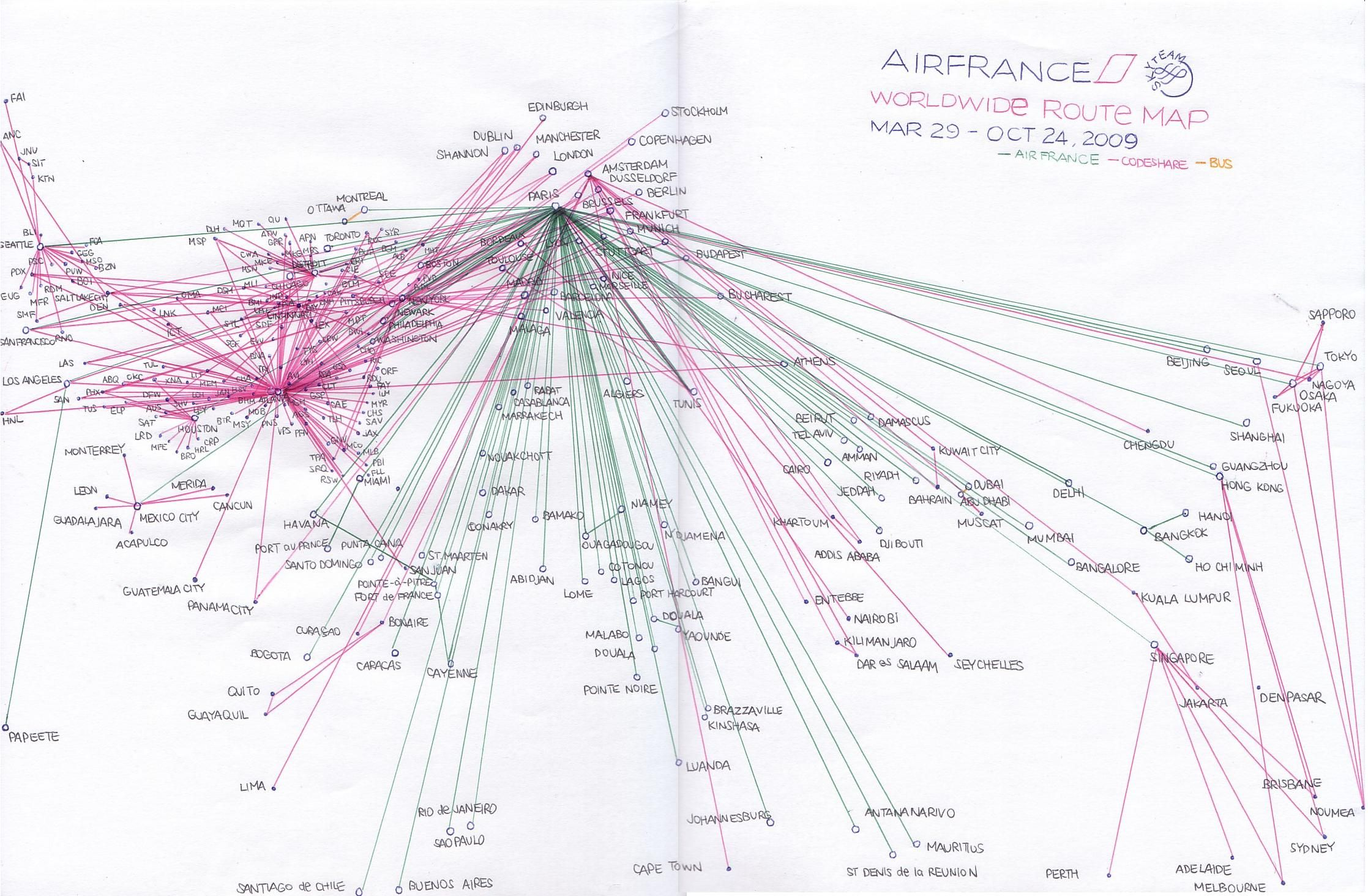 AIRFRANCE 2009.03 International | Route Map Drawings | Pinterest ...