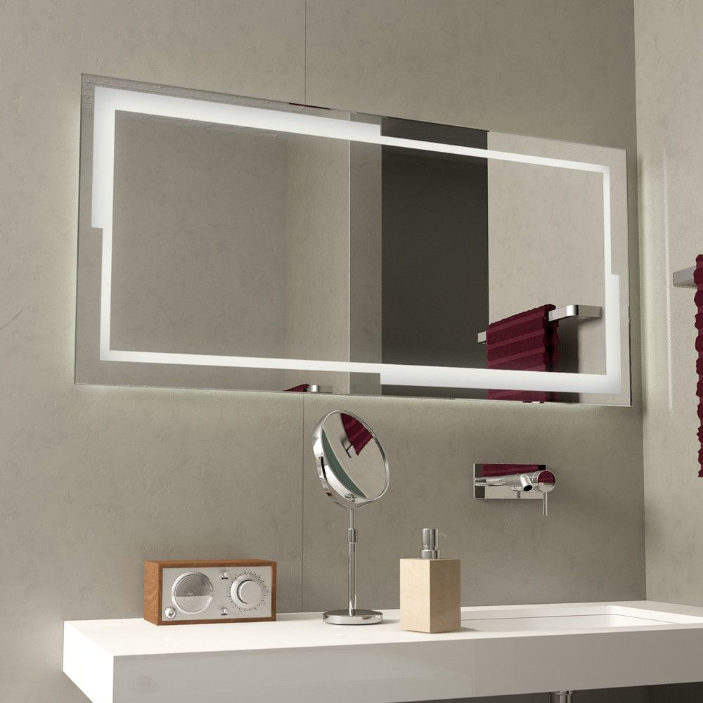 Led Badspiegel Beleuchtet Bayramo Ein Leuchtrahmen Mit Geometrischer Variation Umfasst Diesen Led Spiegel Die Umlaufende Beleuchtu In 2020 Led Mirror Mirror Bathroom Mirror Cabinet