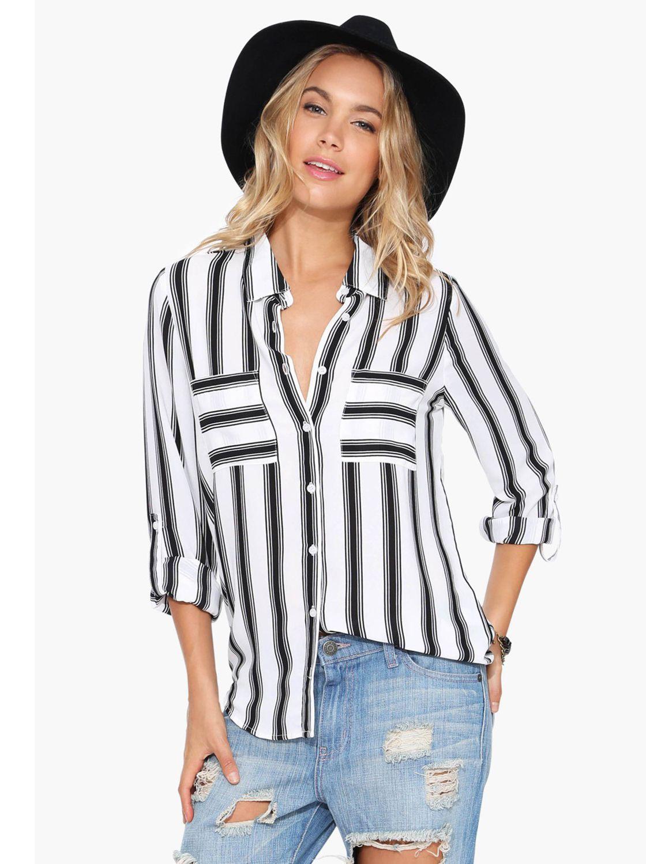 909da4c8f Blusa rayas verticales manga larga-blanco y negro 14.58