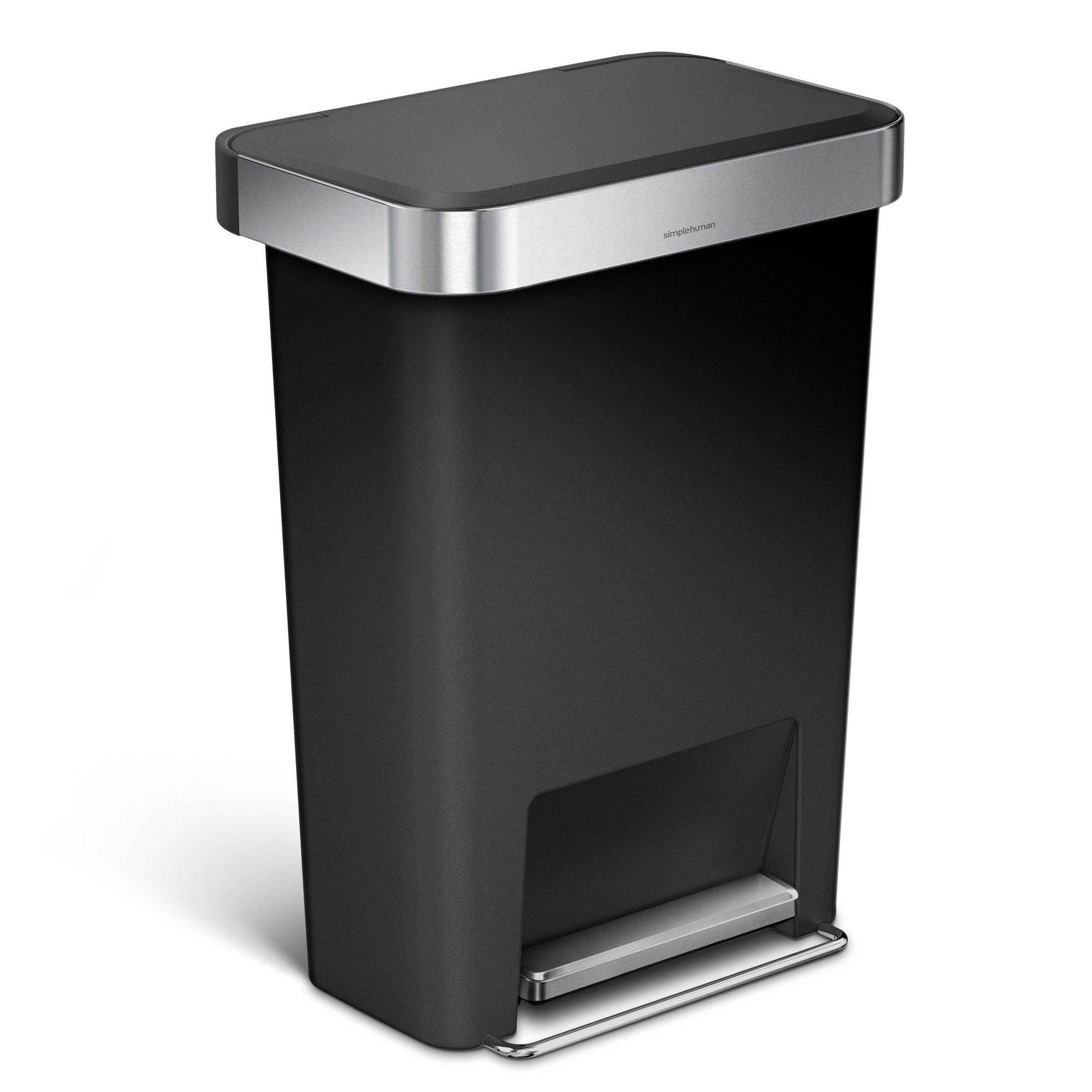 Simplehuman 45L Rectangular Trash Can Grey Step On Garbage Can Plastic Liner Rim