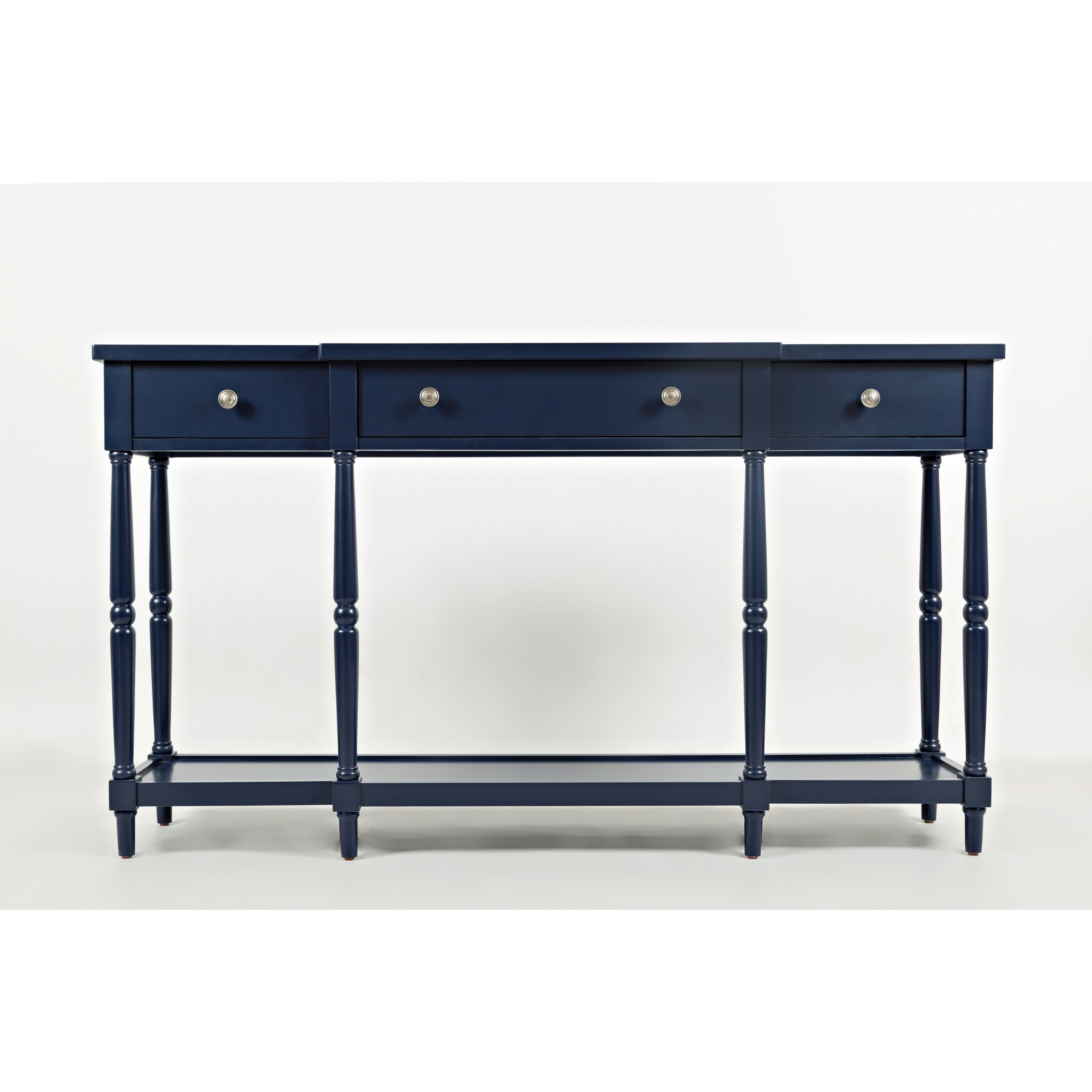 Breakfront Detailed Wooden Console Table With 3 Drawers Navy Blue