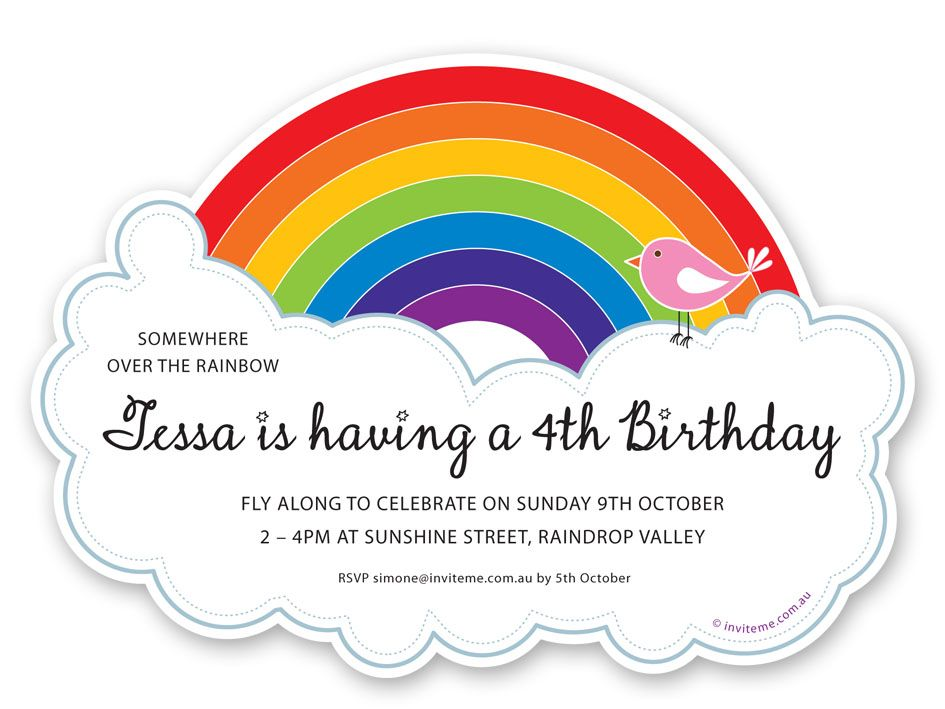 Party invitations for a Rainbow themed birthday party Designed – Rainbow Birthday Invitation