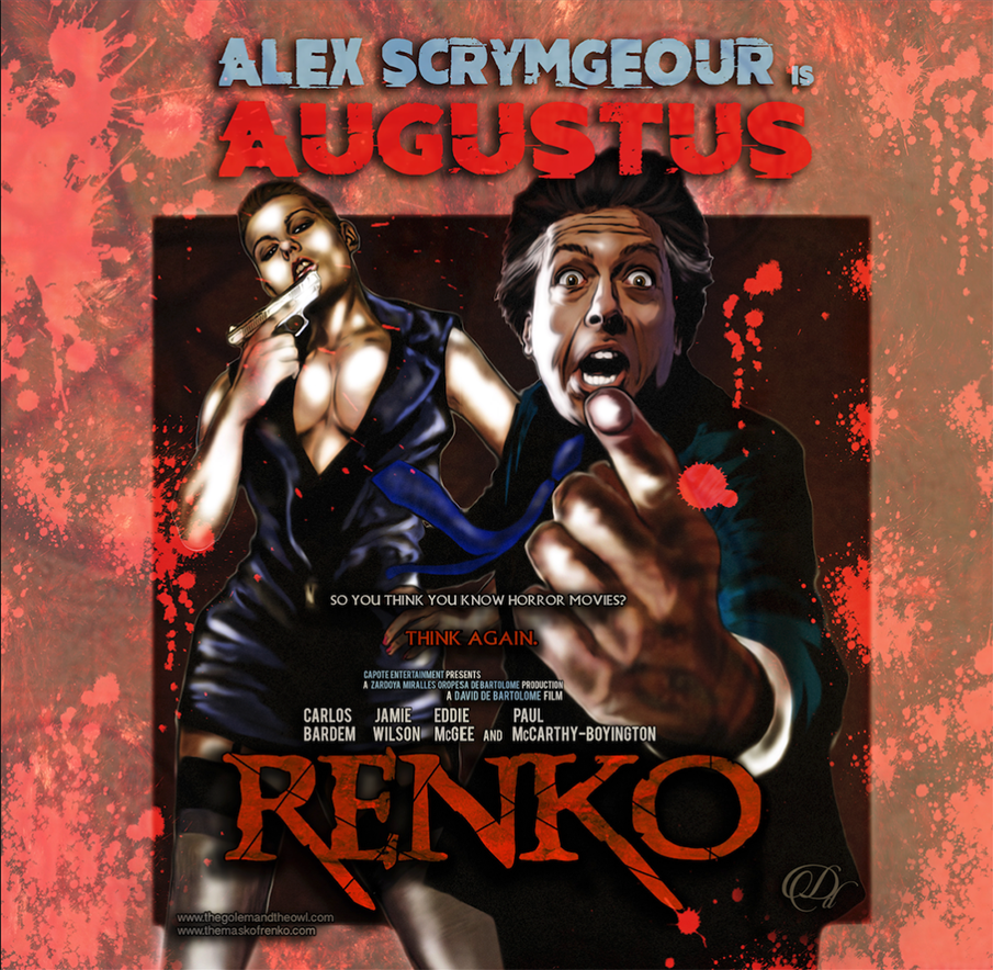 Alex Scrymgeour as Augustus, a dangerous criminal boss, character poster artwork for Renko  by writer director and artist David De Bartolome. 2016.